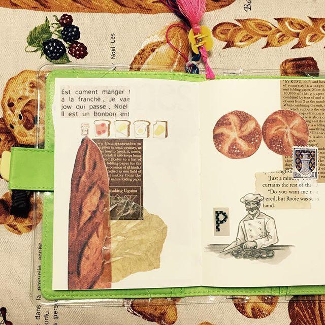 #パンモチーフ#コラージュ#collage#手帳#MDノート