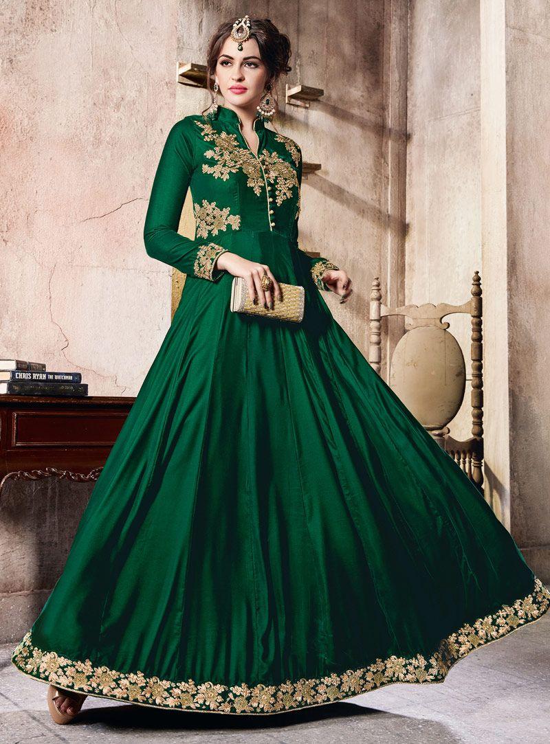 d06733127c6 Green Velvet Floor Length Anarkali Suit 106509