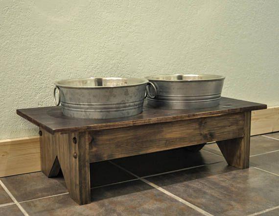Rustic Dog Bowl Stand Pet Decor Bowls Galvanized