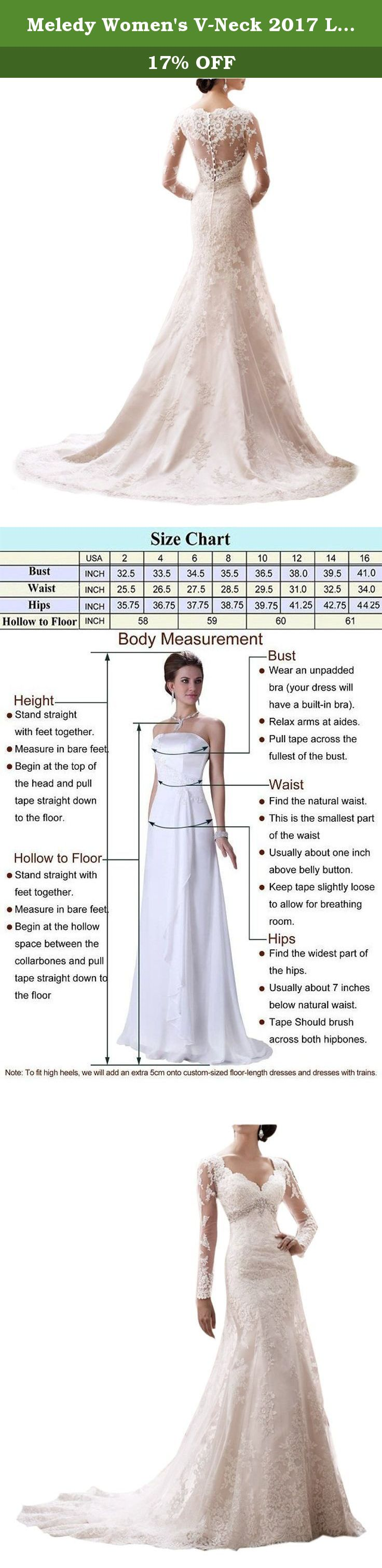 Design your own wedding dress cheap  Meledy Womenus VNeck  Long Sleeves Full Back Mermaid Wedding