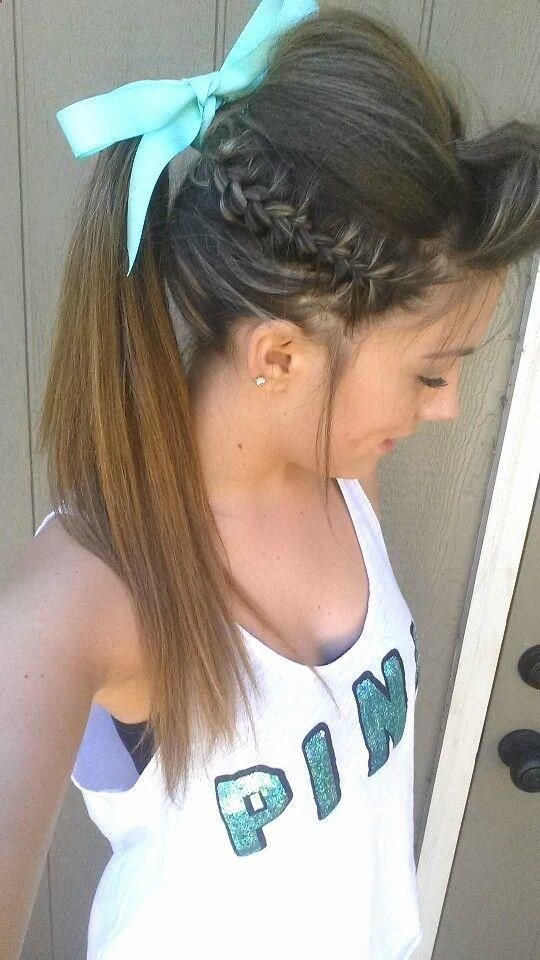 side braid, ponytail and a turquoise bow. | Cheer and ...