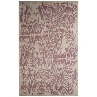 Shop for Contemporary Abstract Pattern Ivory/Purple Wool and Art Silk Area Rug (8' x 10'). Get free shipping at Overstock.com - Your Online Home Decor Outlet Store! Get 5% in rewards with Club O!