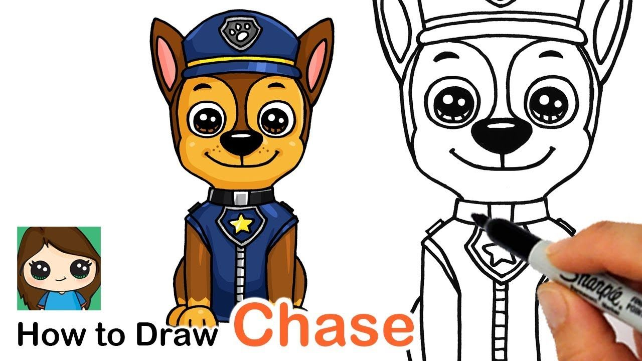How To Draw Chase Easy Paw Patrol Youtube Cute Drawings Paw Patrol Paw Drawing