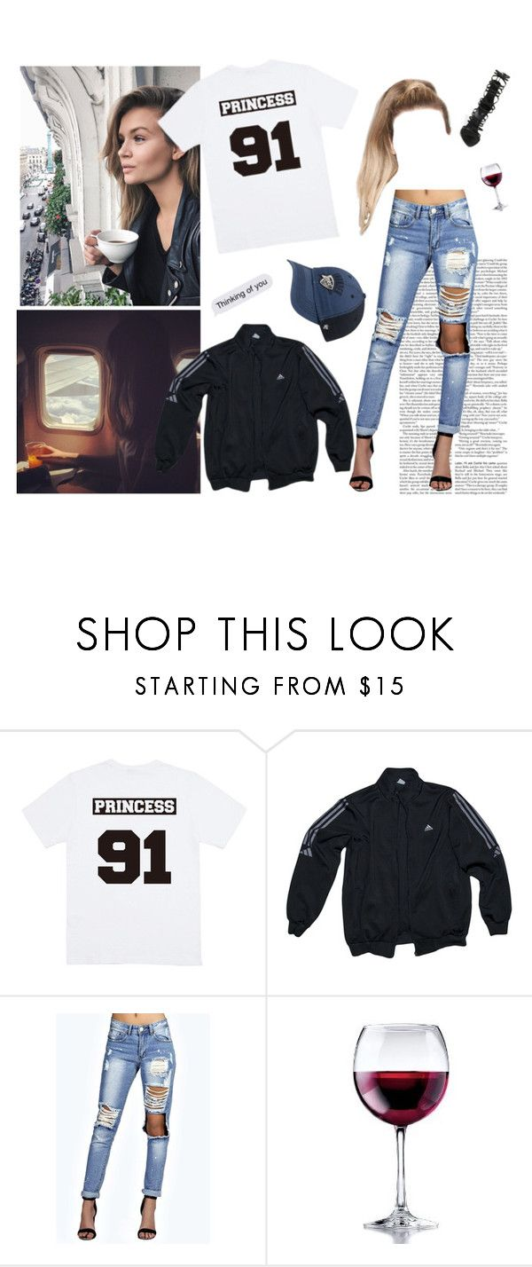"""""""The only reason that you're good at goodbye is every boy you've ever met was too easy to forget."""" by aubreypruitt ❤ liked on Polyvore featuring adidas, Boohoo, Libbey and Giuseppe Zanotti"""
