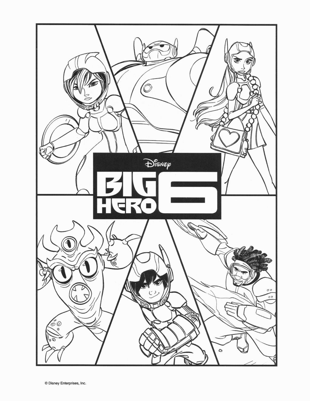 Have Fun Coloring This Amazing Disney Big Hero 6 Page Here Are The Characters Baymax Hiro GoGo Tomago Wasabi Honey Lemon And Fred