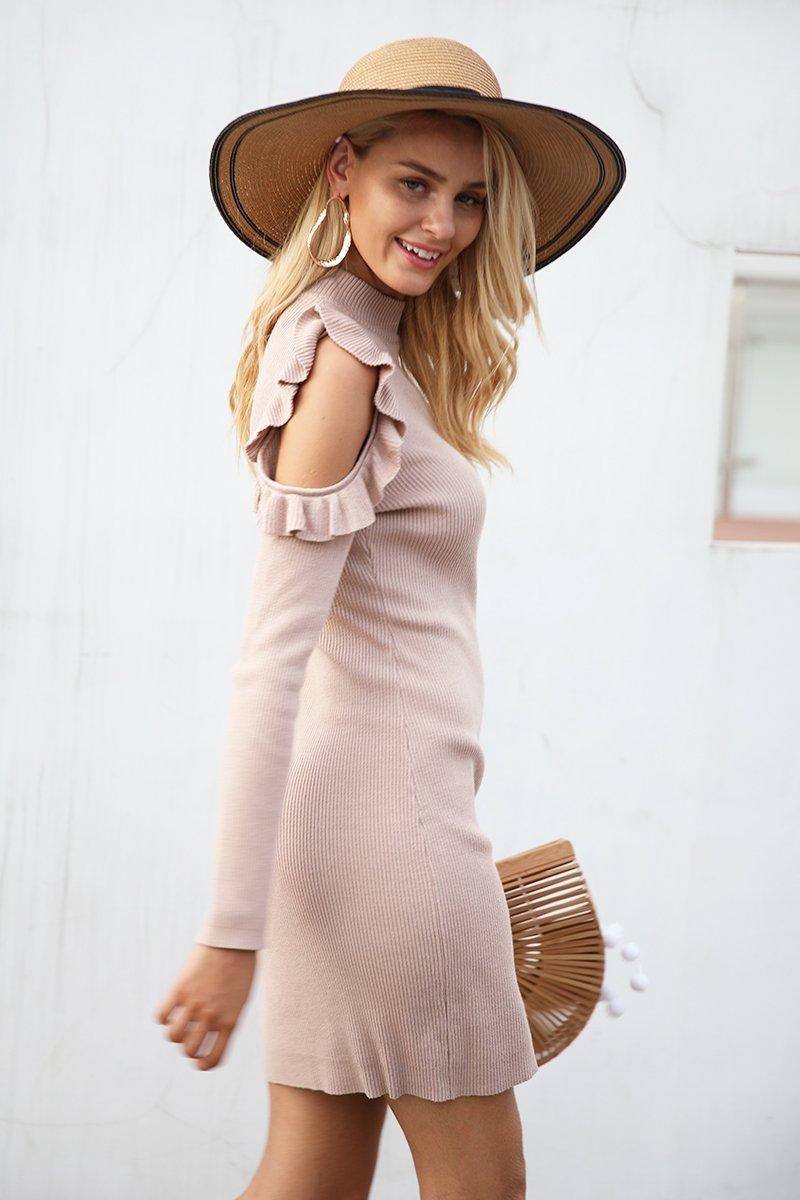 efaa3c69e12937 Cold Shoulder Ruffle Knitted Dress Women elegant long sleeve winter bodycon  dress Autumn sexy slim party dress vestidos Material: Viscose Silhouette:  Sheath ...