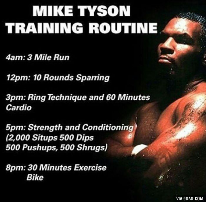 Mike Tyson Quotes: Mike Tyson's Training Routine.