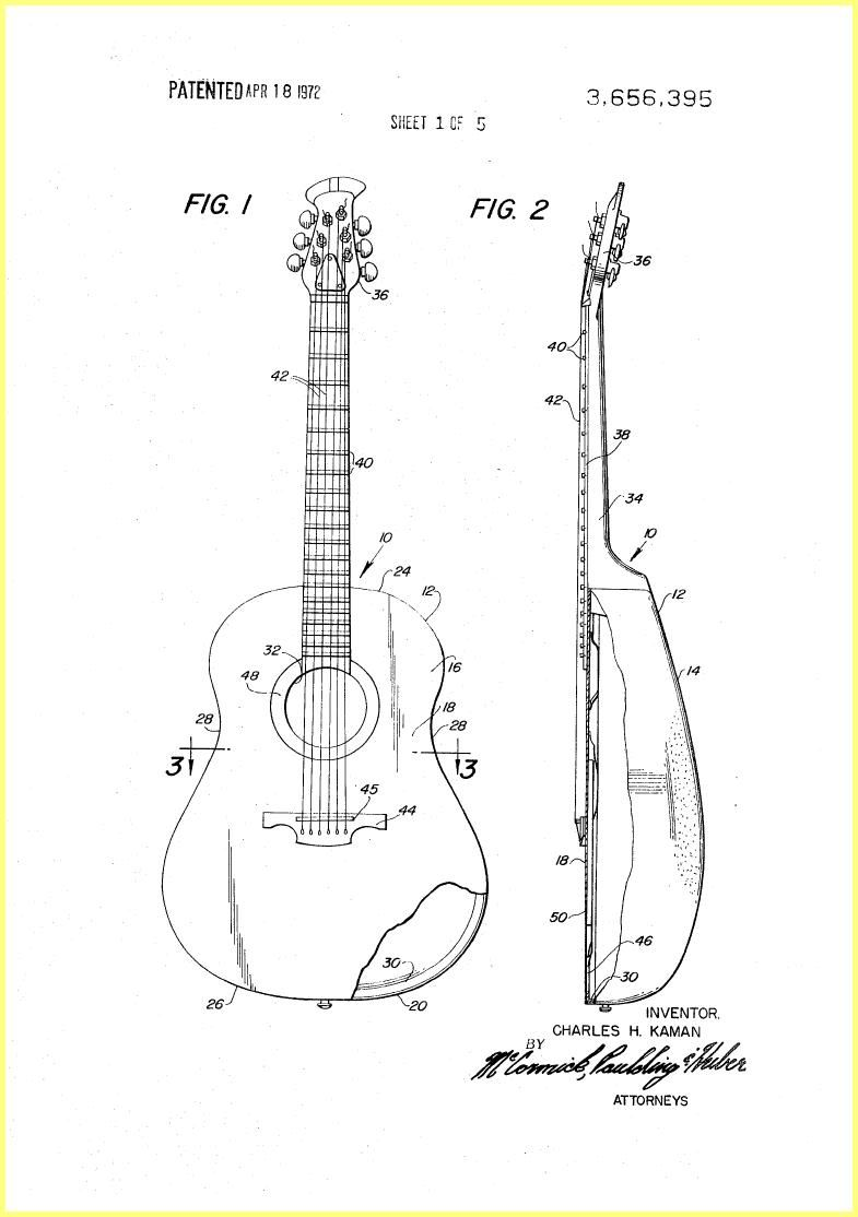 Ovation Guitar Construction 1970 Patent Play The Gibson Les Paul Wiring Diagram