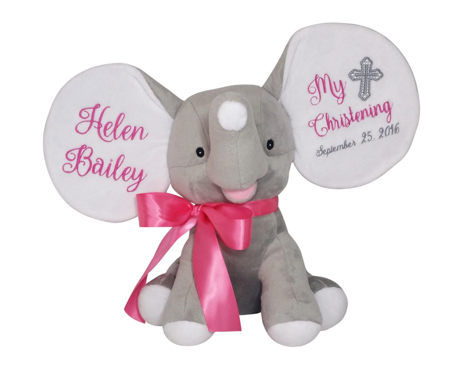 Personalized baby baptism gift christening gift godparents gift personalized baby baptism gift christening gift godparents gift plush elephant stuffed animal by negle Image collections