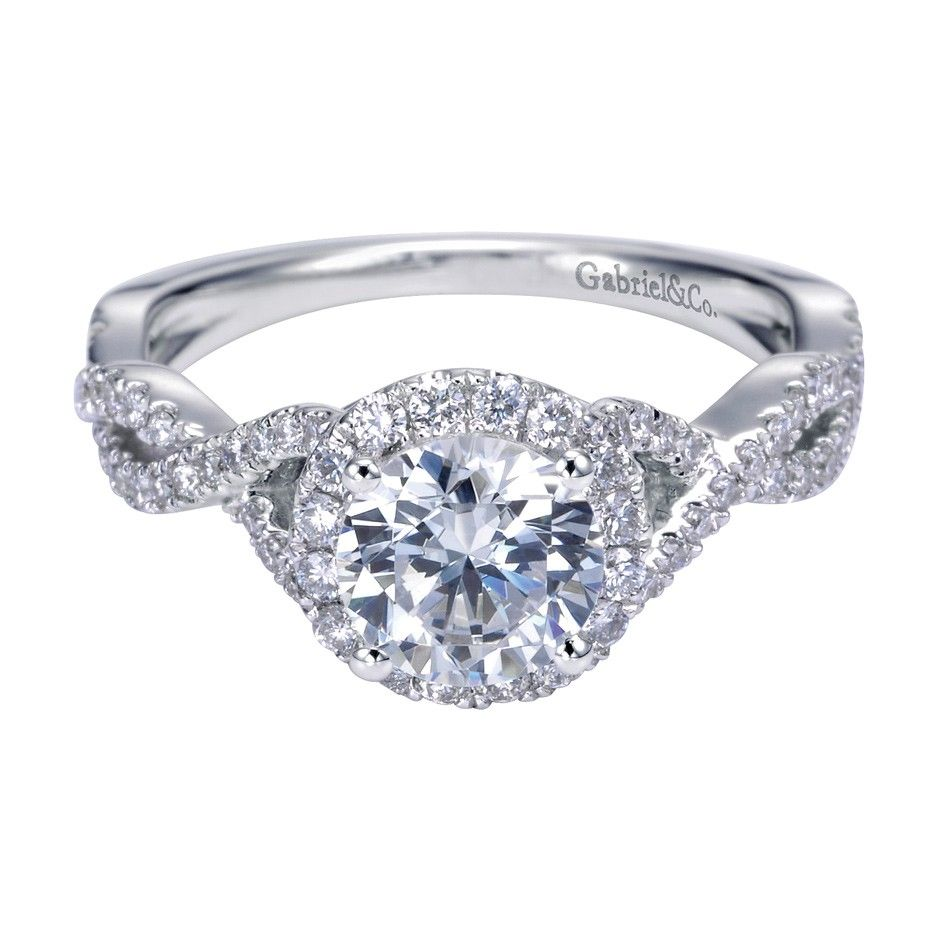 Gabriel Co 14k White Gold Twist Halo Engagement Ring  Engagement  Rings