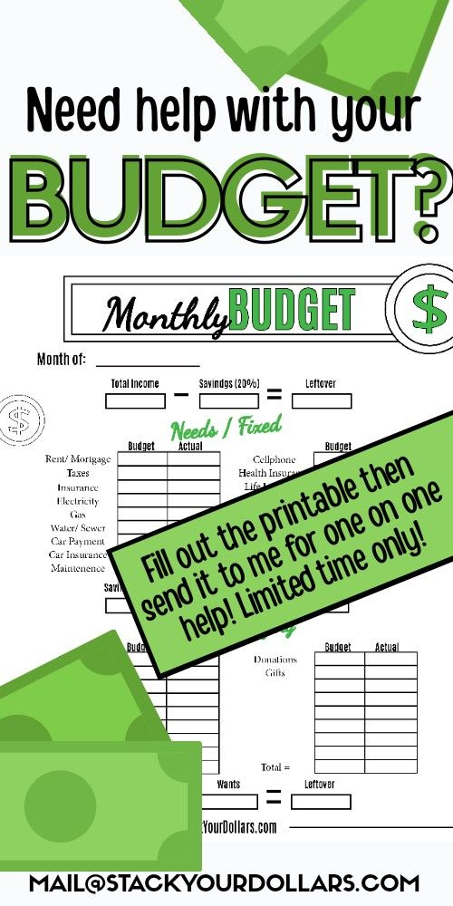 For a limited time, I'm offering help with making your budget. Just fill out the budgeting worksheet then send it to me at the email on the pin. I'll help you find ways to cut everyday costs and save money. #StackYourDollars