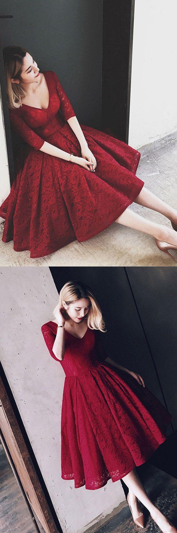 Colorful prom dresses v neck half sleeves burgundy lace