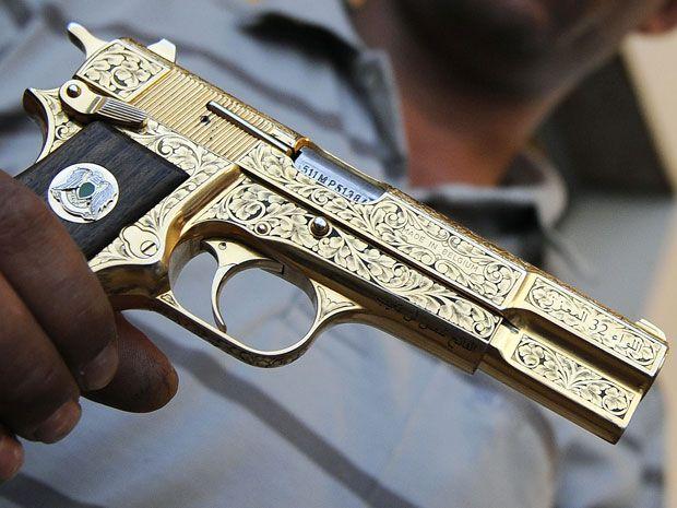 Gaddafi's gold plated gun, Made in Belgium | Guns | Guns, Hand guns