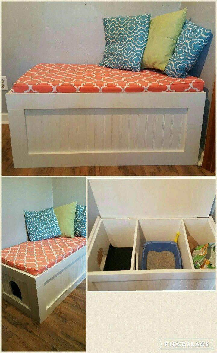 Hidden Cat Litter Box Decorative Bench More Cat Room Diy Diy