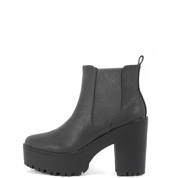 Jaida Black Chunky Chelsea Boot (385 MAD) ❤ liked on Polyvore featuring shoes, boots, ankle booties, black, chunky platform booties, platform booties, chelsea boots, black ankle booties and short black boots