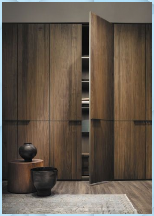 Zeitgenossischer Kleiderschrank Holz Mit Schwingturen Kyn