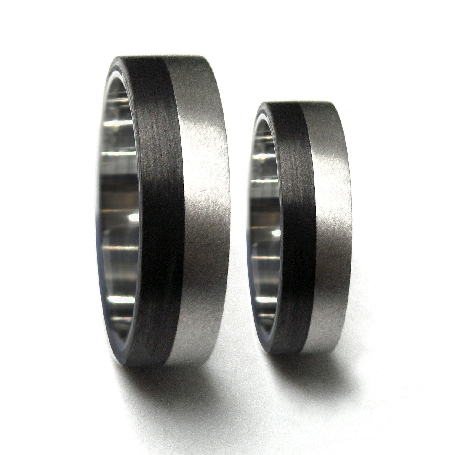 set of two titanium and carbon fiber wedding bands unique and modern black rings water resistant and hypoallergenic 00308_4n7n - Carbon Fiber Wedding Rings