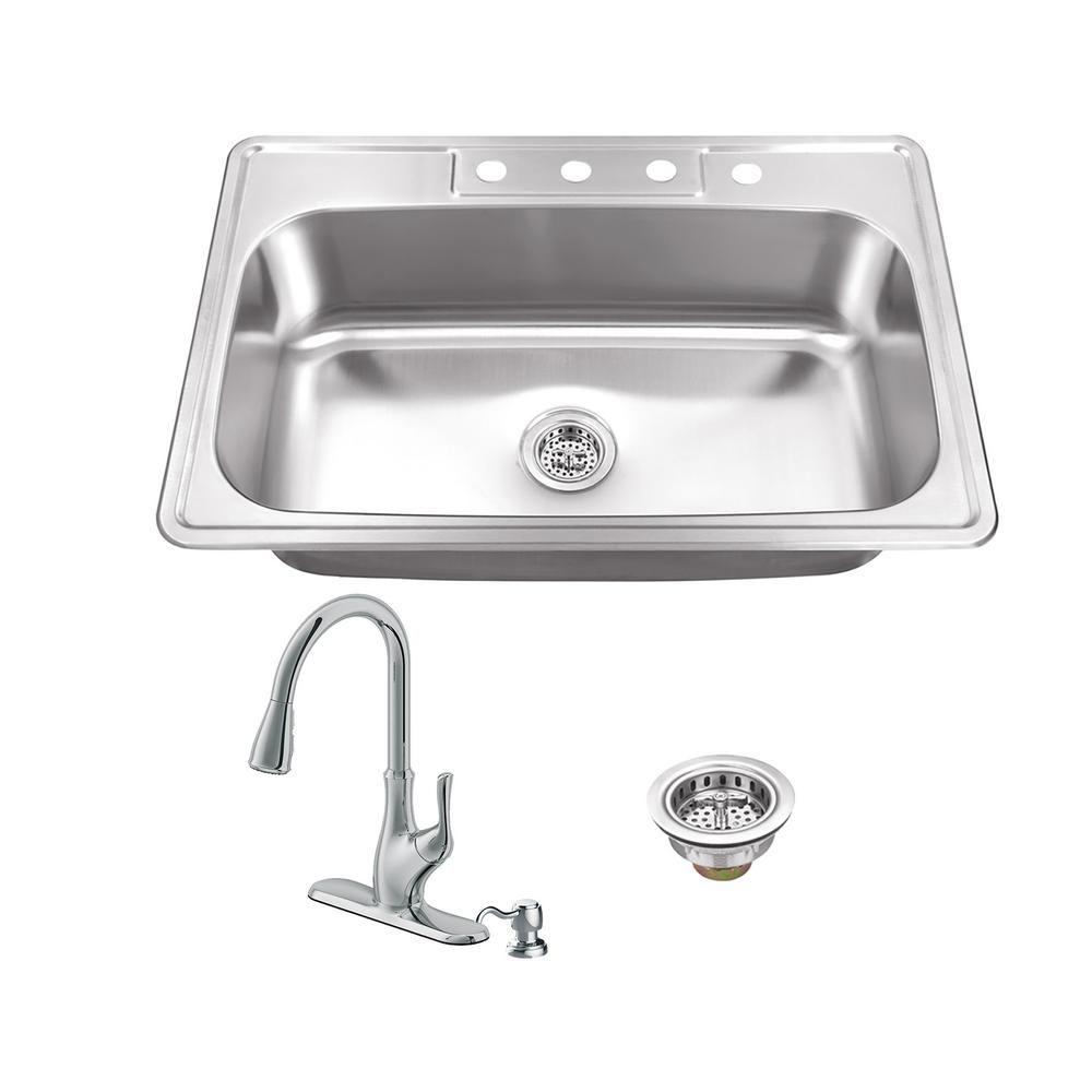 Ipt Sink Company Drop In Stainless Steel 33 In 4 Hole Single Bowl
