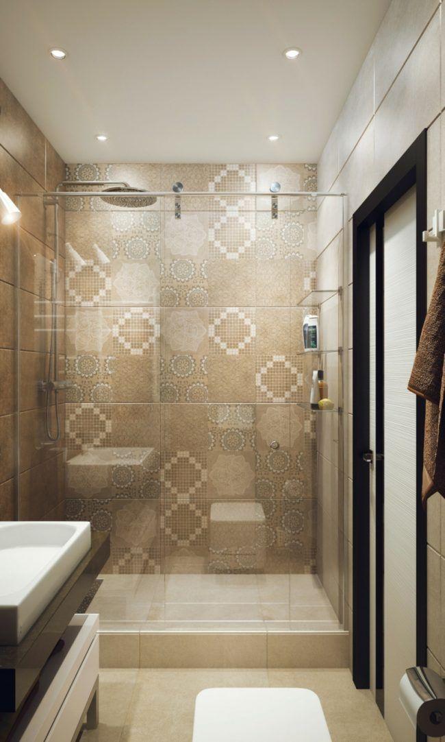 begehbare dusche fliesen mediterran wandnische glastuer ...
