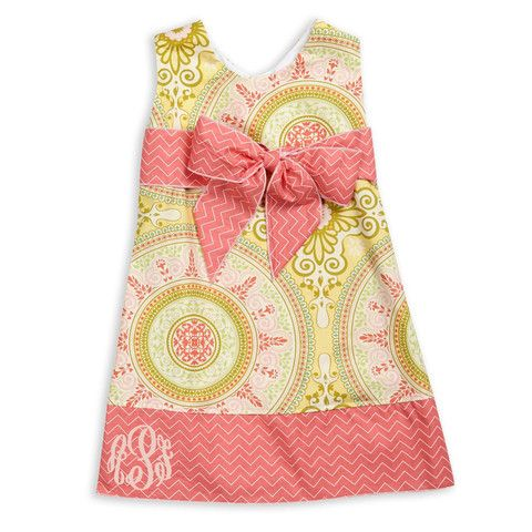 Lolly Wolly Doodle — Gone 2/12 Coral Chevron Pink Lime Medallion Sash Dress