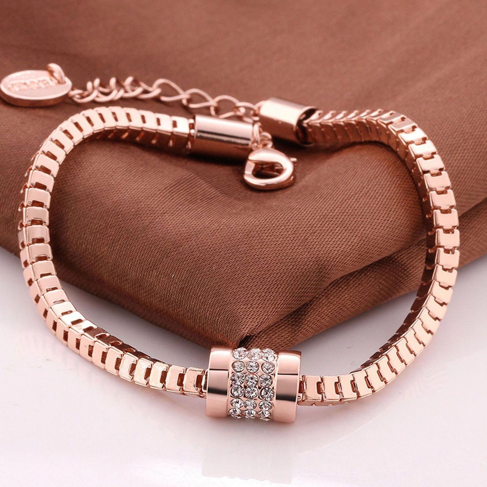 434e524e633 Women Fashion 18K Rose Gold Plated Crystal Bracelet Bangle Trendy ...