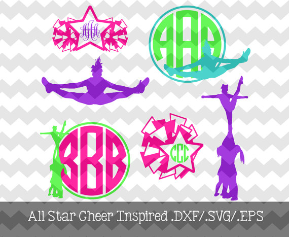All Star Cheer Inspired Monogram Frames Dxf And Svg Files For Use With Your Silhouette Studio Software Monogram Frame All Star Cheer Cheer Mom