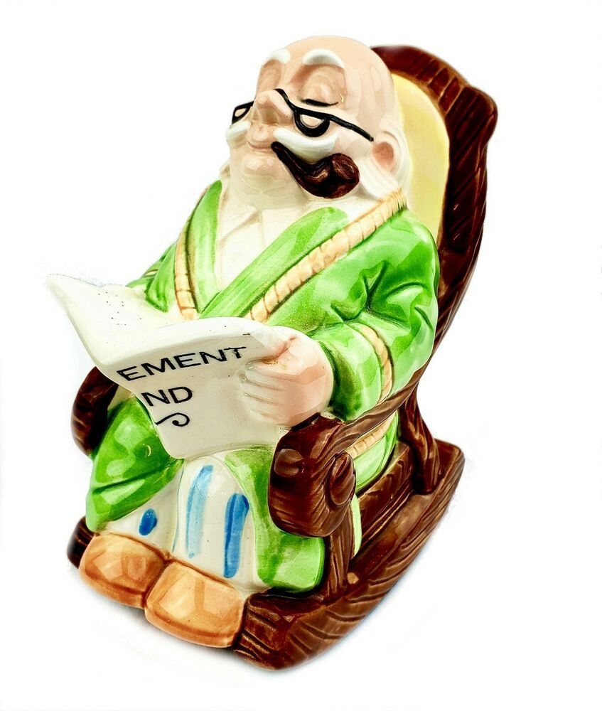 Fantastic Retirement Fund Ceramic Bank 6 Grandpa Sitting In Rocking Squirreltailoven Fun Painted Chair Ideas Images Squirreltailovenorg