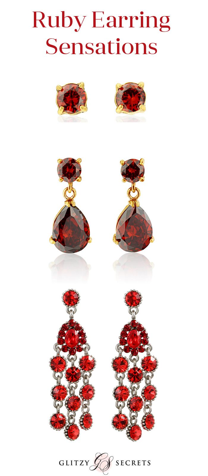 Fabulous ruby red earrings from Glitzy Secrets - perfect for a red ...