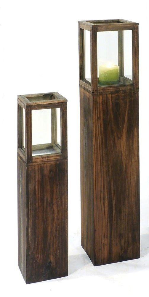 holz s ule set rustical windlicht landhaus kerze dekoration wohnen deko laterne home pinterest. Black Bedroom Furniture Sets. Home Design Ideas