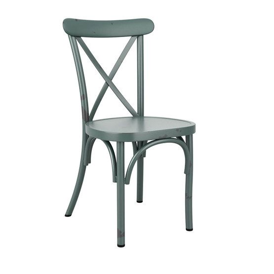 Terrific Toulon Stacking Side Chair In Aluminium Vintage Blue Home Remodeling Inspirations Cosmcuboardxyz