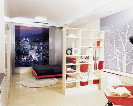 Koreans like to decorate their apartments in a simple for Korean living room design