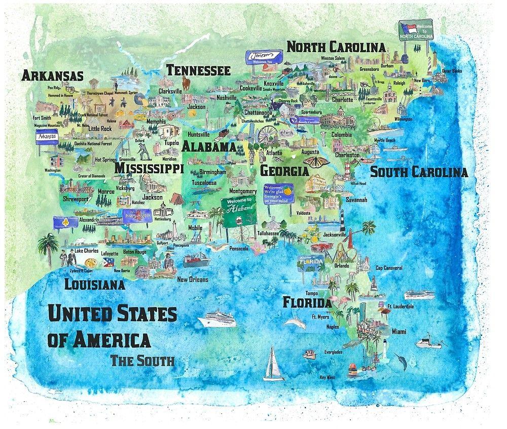 Usa Sudstaaten Reiseposter Karte Florida Louisiana Mississippi