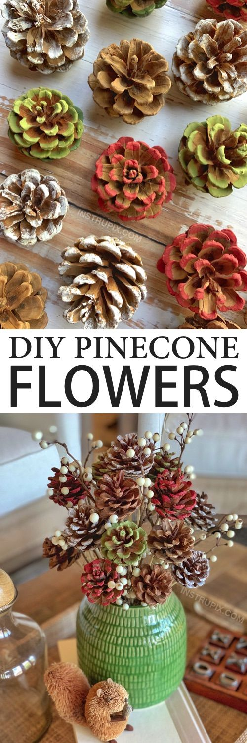 Photo of DIY Pinecone Flowers With Stems