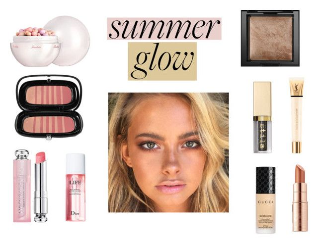 """""""Glow Girl!"""" by rivmisty ❤ liked on Polyvore featuring beauty, Gucci, Estée Lauder, Guerlain, Marc Jacobs, Christian Dior, Bare Escentuals, Stila, Yves Saint Laurent and summerglow"""