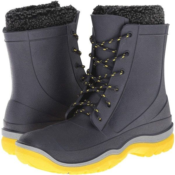 Tundra Boots Splashers (Navy/Yellow) Women's Boots ($25) ❤ liked on