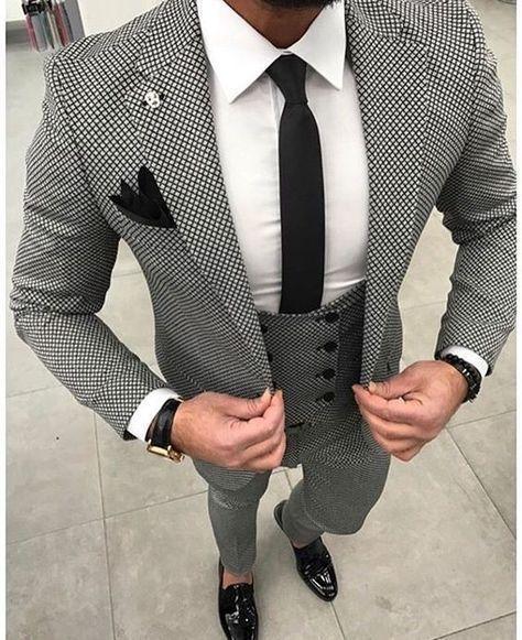 Gray Winter Tweed Men Suit Tailed Made Wedding Groom Tuxedo Three Piece Costume Jacket Pants Vest Formal Style Blazer Mens Dress Clothes Mens Tuxedo