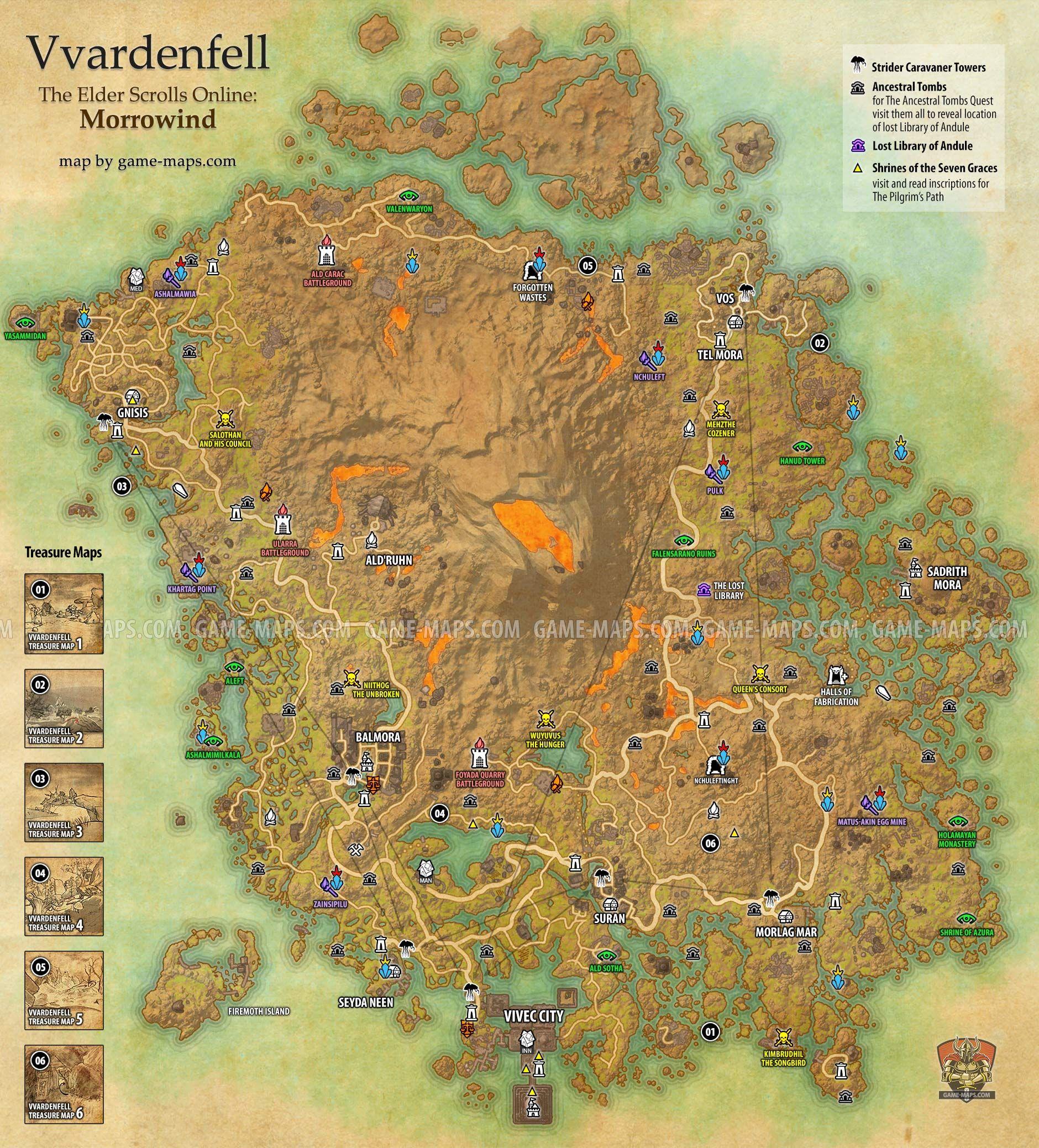 Vvardenfell Zone Map For The Elder Scrolls Online Morrowind Vivec