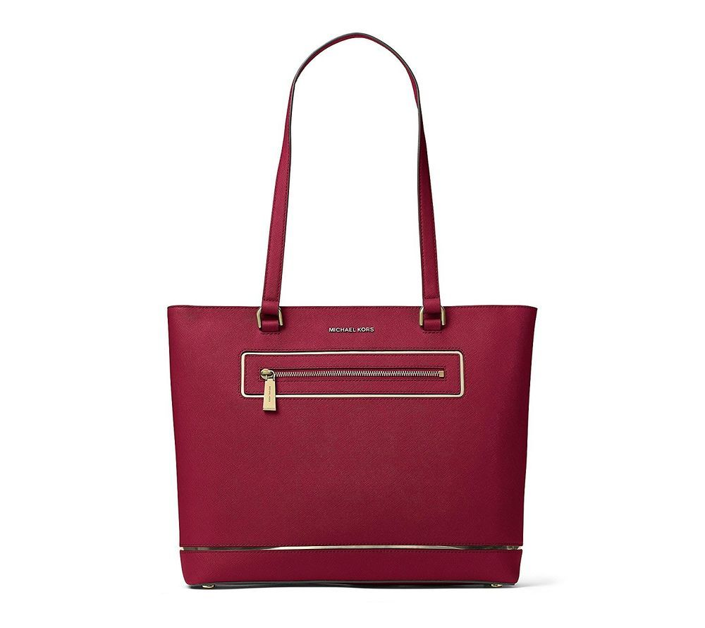 1813ad3d927c Michael Kors Jet Set Large Saffiano Leather Tote Shoulder Bag Cherry Red  Silver #MichaelKors #TotesShoppers