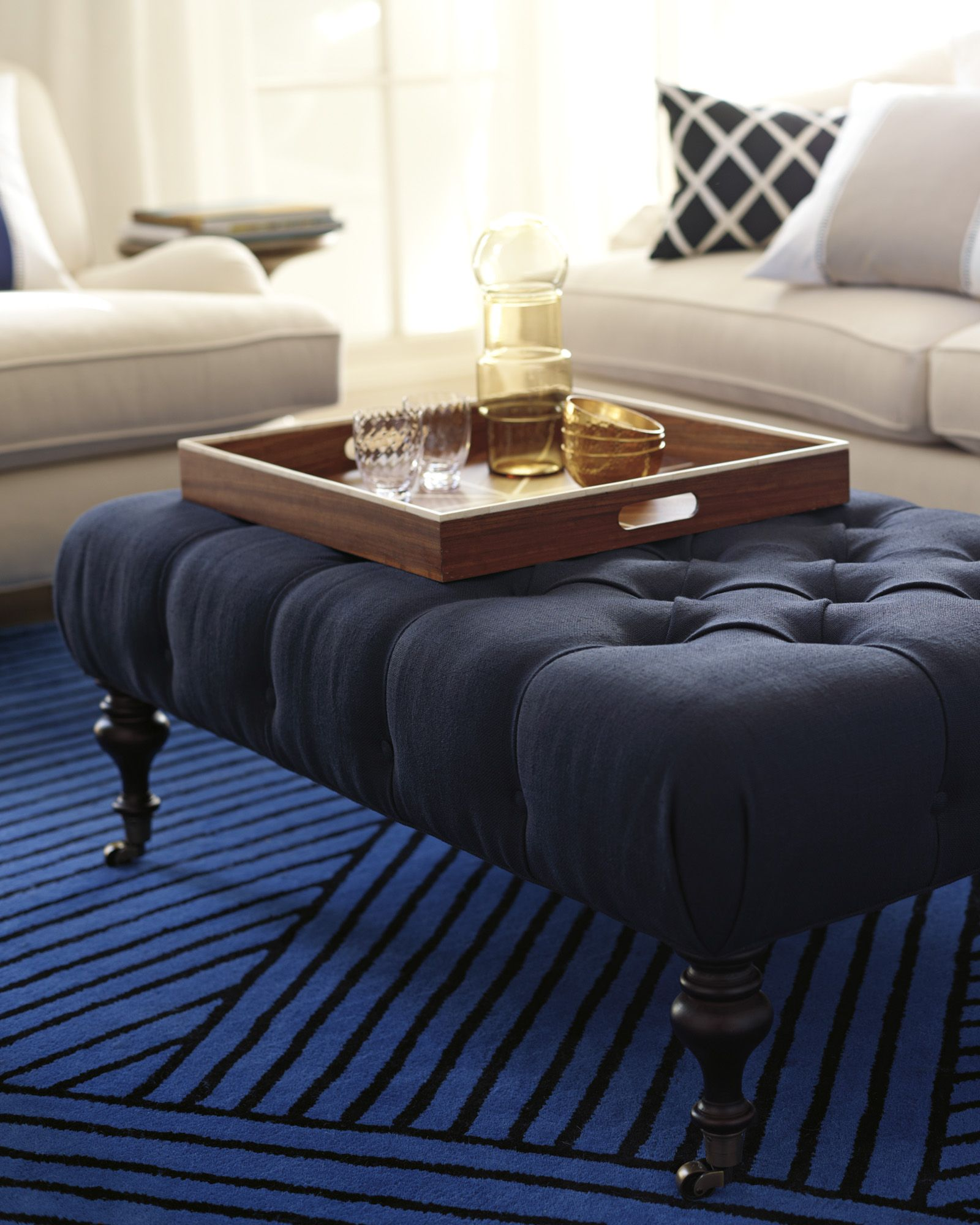 Es Ottomanes Ottoman 44x27 Serena And Lily I Love This Idea For A Coffee Table Use Tray On Top Nice Soft You Can Put Your Feet Up