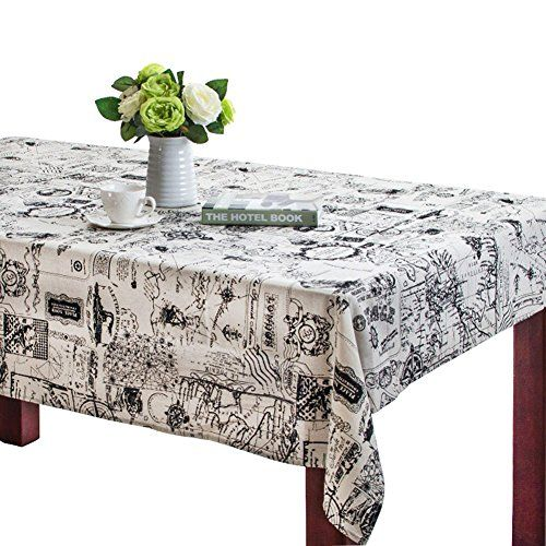 Bringsine Rectangular Cotton Linen World Map Washable Tablecloth Vintage  Rectangle Dinner Picnic Table Cloth Home Decoration