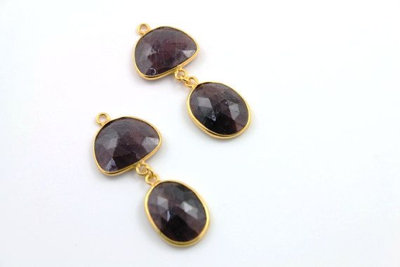 Genuine Natural Rose Cut  Rubies Fancy component 24k by Beadspoint, $105.99