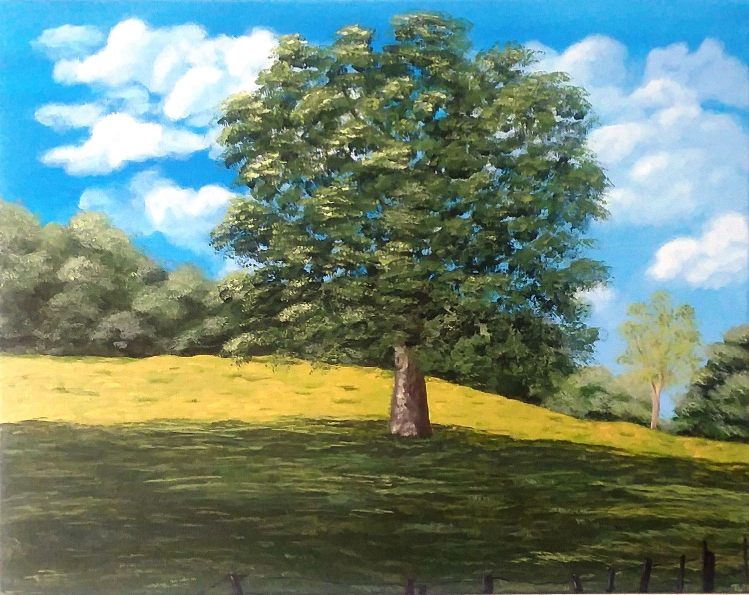 Tree In Field With Fence Wall Painting Field Painting Tree Picture Tree In Field Picture Tree Painting La Tree Painting Landscape Paintings Wall Painting