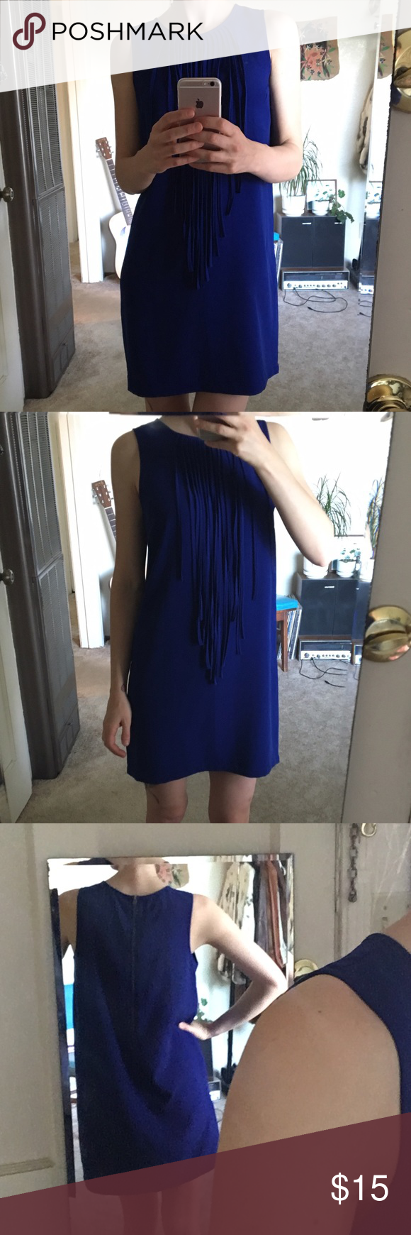 Forever21 Fringed Shift Dress Light and flirty mini shift dress in cobalt blue with long fringe from neckline. Perfect for anything from weekend brunch to a summer wedding. Metal zipper closure on back. Measures 32 1/5inches from shoulder to hem. Forever 21 Dresses Mini