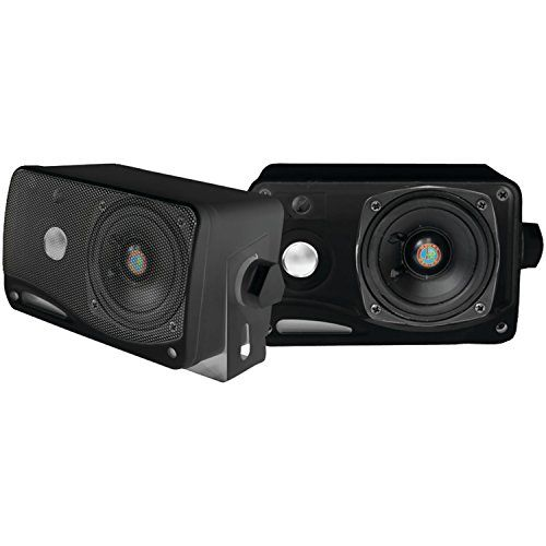 Pyle Plmr24b 35inch 200 Watt 3way Weather Proof Mini Box Speaker System Black Want To Know More Click On The Image Note Speaker Marine Audio Speaker System