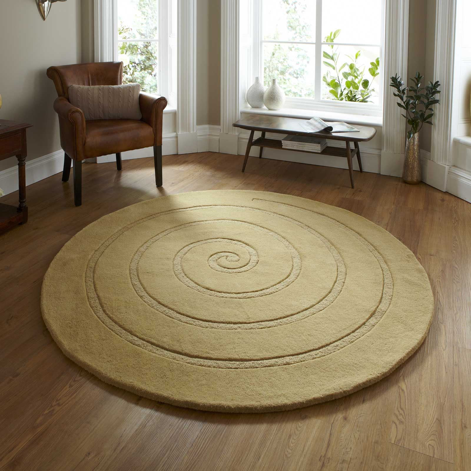 Spiral Circular Wool Rugs In Gold Free Uk Delivery