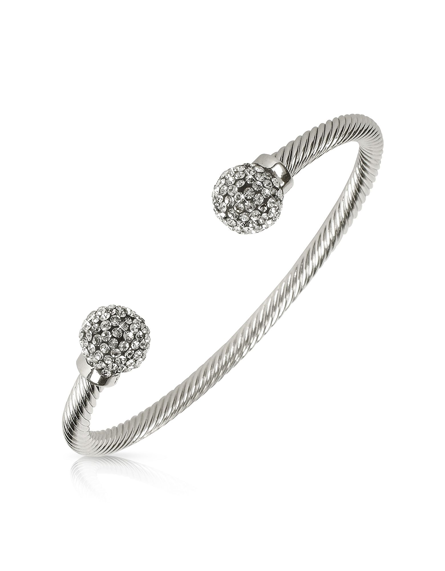 An elegant round band finished with crystal-laden spheres, this bracelet is fit for the queen of the ball. Manufactured in a patented jewelry alloy and resin. Signature box included. Swiss made. #Jewelry #fashion #style #women
