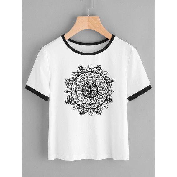 Estampada Ringer Camiseta Pattern Ringer Ringer Estampada Camiseta White White Pattern Estampada Camiseta 77zOxwq
