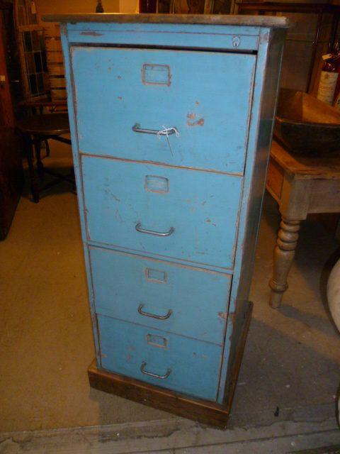 Vintage Painted Wooden Filing Cabinet - Vintage Painted Wooden Filing Cabinet Antiques: Blues Pinterest