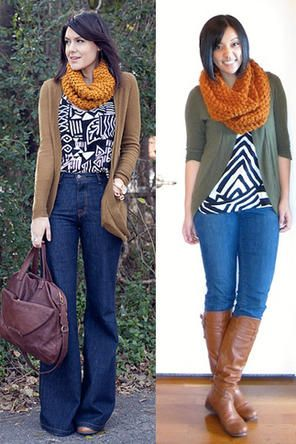 black and white top + flare jeans + camel cardigan + rust colored scarf