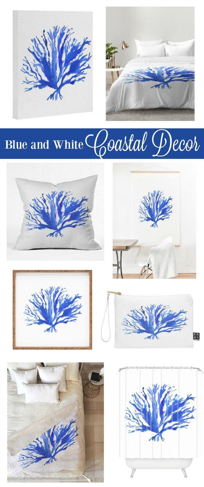 Coastal decor ideas blue and white sea coral design beautiful